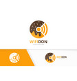 donut and wifi logo combination doughnut vector image vector image