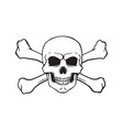 doodle skull jolly roger with crossbones behind vector image