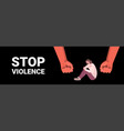 fists over scared terrified woman stop family vector image vector image