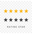 five stars rating in yellow and black silhouette vector image vector image