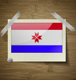 Flags Mordovia at frame on wooden texture vector image