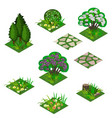 garden or farm isometric tile set vector image vector image