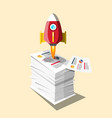 Graphs on business documents heap with rocket