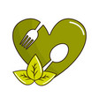 green heart with spoon and fork inside with leaves vector image