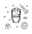 hand-drawn hedgehog the astronaut vector image