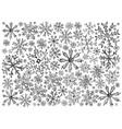 hand drawn row of various christmas snowflake back vector image vector image