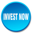 invest now blue round flat isolated push button vector image vector image