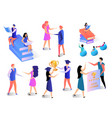 learning people set isolated on white background vector image vector image