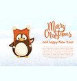 merry christmas and happy new year penguin in hat vector image vector image