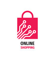 online shopping bag logo design element digital vector image