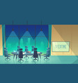 overtime concept - conference hall at night vector image