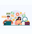 people workers man woman characters counting vector image vector image