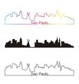 Sao Paulo skyline linear style with rainbow vector image vector image