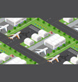 seamless pattern isometric 3d city airport vector image vector image