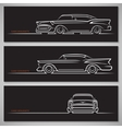 set classic car silhouettes in american style vector image