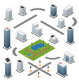 set isometric buildings roads park vector image