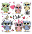 set of cute owls on a white background vector image vector image