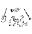Set of musical instruments in retro style vector image vector image