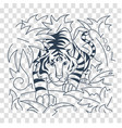 silhouettetiger icon in nature vector image vector image