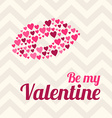 St Valentines day greeting card in flat style Lips vector image vector image