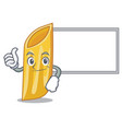 thumbs up with board penne pasta character cartoon vector image vector image