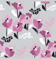 tulip blossom hand drawn seamless pattern vector image