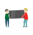 two men are busy moving tv-set to a new flat vector image