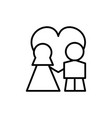 wedding couple with love in heart line icon vector image vector image