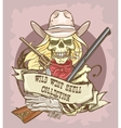 Wild West skull label vector image