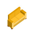 yellow sofa couch 3d isometric furniture vector image vector image