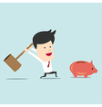 Business man use hammer try to break piggy bank vector image