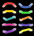 set of isolated flat colored ribbon banners with vector image