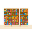 bookshelves in library with teaching materials vector image