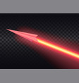 aircraft flies and leaves bright glowing laser vector image vector image