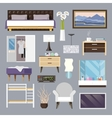Bedroom Furniture Flat Icons Set vector image vector image
