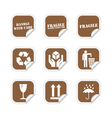 Brown fragile stickers vector image