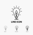 bulb idea electricity energy light icon in thin vector image