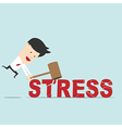Business man use hammer try to break stress word vector image