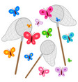 butterfly nets catching butterflies vector image vector image