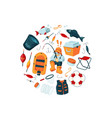 cartoon fishing equipment vector image