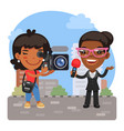 cartoon videographer and journalist vector image vector image