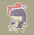 cartoon whale alcoholic vector image vector image