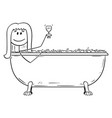 cartoon woman relaxing in batch tub with glass vector image