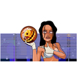 cartoon woman stands with ball for bowling vector image vector image