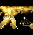 christmas and new year champagne toast card vector image