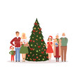 christmas family mother father kids and vector image