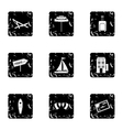 City Miami icons set grunge style vector image vector image
