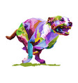 colorful dog running isolated on white vector image vector image