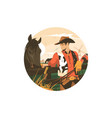 cowboy with horse vector image vector image
