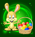 Easter bunny with a basket full of colorful eggs vector image vector image